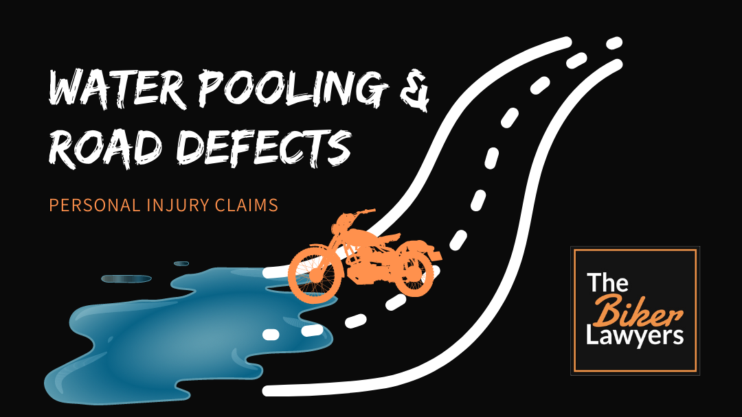 Decorative graphic of pooling water on a roadway. Image by The Biker Lawyers